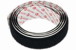 25 Velcro Loop Fastener, adhesive, black, sold in 1m steps