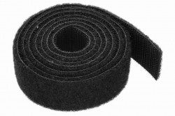 25 Velcro Hook and Loop Fastener, double sided, black, sold in 1m steps